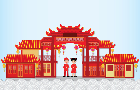 Happy New Year in China Town with chinese boy and girl ,happy chinese new year paper art and craft style vector illustration. Reklamní fotografie - 93522053