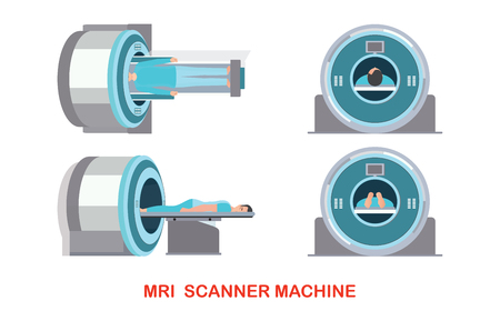 MRI scanner machine technology and diagnostics , medical Health care Vector illustration. Иллюстрация