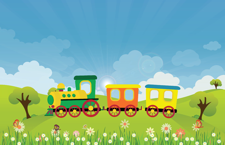 Toy train riding on Spring summer meadow landscape with sun rays and flowers, vector illustration. Ilustração