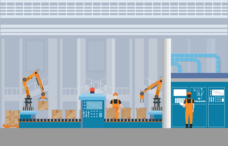 Manufacturing Warehouse Conveyor with workers, robots and assembly line Industrial, Robot working with conveyor belt inside factory, Flat Vector Illustration. Stock Illustratie