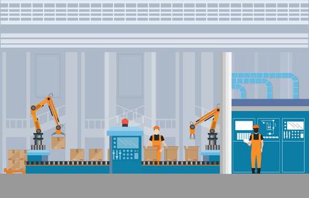 Przemysłowy przenośnik magazynowy z pracownikami, robotami i linią montażową Przemysłowy, robot pracujący z przenośnikiem taśmowym wewnątrz fabryki, płaska ilustracja wektorowa.