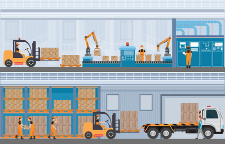 Manufacturing Warehouse Conveyor, Modern Assembly Production Line Industrial,warehouse, freight transportation and professional workers, smart factory in Flat Vector illustration. Vectores