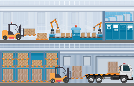 Manufacturing Warehouse Conveyor, Modern Assembly Production Line Industrial,warehouse, freight transportation and professional workers, smart factory in Flat Vector illustration. Standard-Bild - 99779935