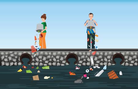 Gente que tira basura en el río, ilustración de vector conceptual del medio ambiente de contaminación del agua.