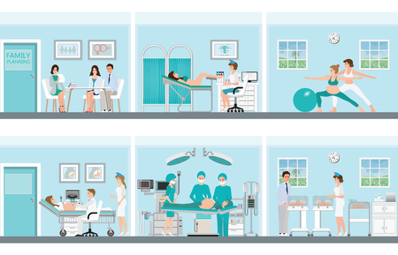 Family planning with medical professionals at work in operation room with doctor and patient in hospital or clinic, vector illustration.