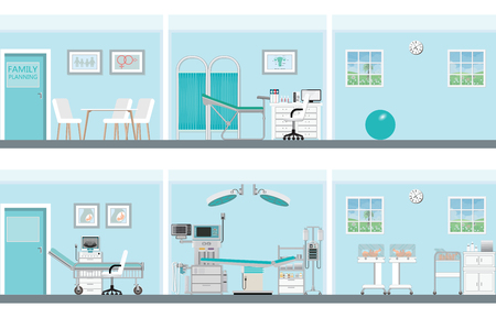 Interior of family planning room in hospital or clinic,vector illustration. Illustration