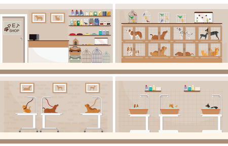 Interior of modern pet shop with cages of animal, animal health care conceptual vector illustration. Stock Illustratie