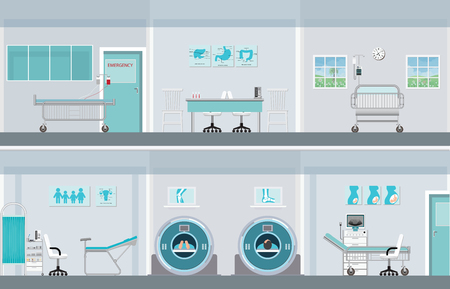 Interior operation room with equipment in hospital or clinic, vector illustration.