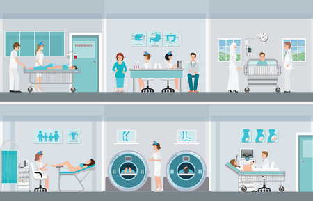 Medical professionals at work in operation room with doctor and patient in hospital or clinic, vector illustration.