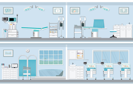 Interior of operating room for birthing of pregnant woman, birth Surgery, natural birth ,giving birth in water and child care newborn baby inside infant incubators, vector illustration.