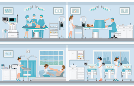 Various birthing of pregnant woman, birth Surgery, natural birth ,giving birth in water and child care newborn baby inside infant incubators, vector illustration.