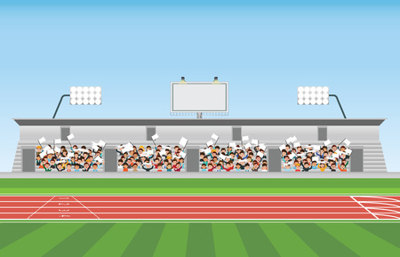 Crowd in stadium grandstand to cheering sport, vector illustration.