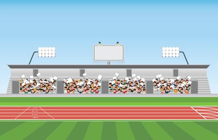 Menigte in stadion tribune tot juichende sport, vectorillustratie.