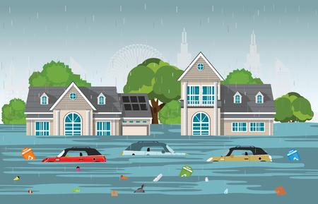 Zware regendruppels en stad overstromingen in modern dorp met auto's en vuilnis drijvend in het water, vectorillustratie.