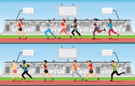 Hombres y mujeres de corredor de maratón en la pista de carreras con multitud en la tribuna del estadio, deporte y competencia ilustración vectorial