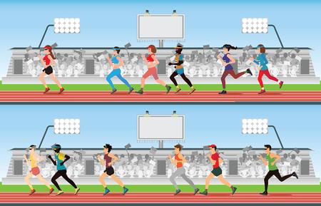 Marathonloper mannen en vrouwen op rennen circuit met menigte in stadion tribune, sport en competitie vectorillustratie.