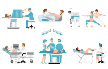 Various birthing of pregnant woman isolated on white, birth Surgery, natural birth ,giving birth in water and child care newborn baby inside infant incubators, vector.