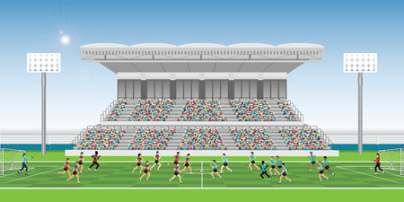 Menigte in stadion tribune aan juichende voetbalwedstrijd teamspelers sport kampioenschap, man voetbalspelers in actie, vectorillustratie. Vector Illustratie