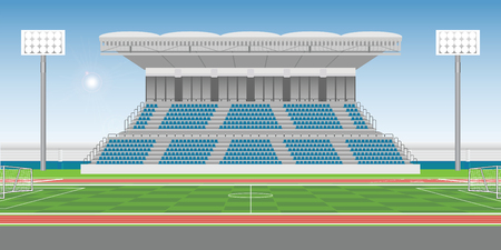 Sport stadium grandstand to cheering sport with soccer field in sunny day, public building vector illustration.