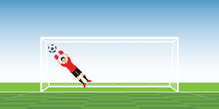 Goalkeeper in action jumping to catch soccer ball, vector illustration.