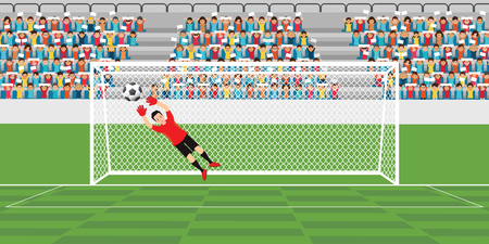 Goalkeeper jumping to catch soccer ball, football match team players sport championship vector illustration.