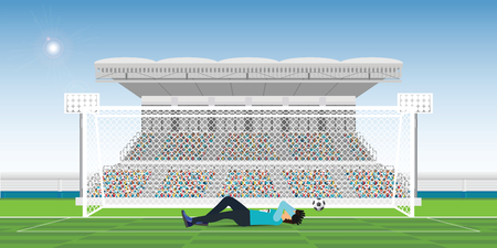 Goalkeeper covers own face during the game missed the ball in gate, Soccer player after losing, football match team players sport championship vector illustration.