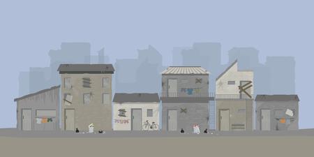 Paesaggio della città dei bassifondi o area urbana dei bassifondi della città vecchia, illustrazione vettoriale.