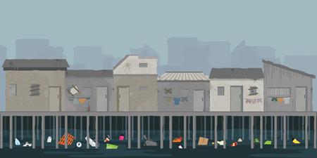 Landschap van houten huis aan de rivieroever met vuilnis, sloppenwijk over de rivier, armoede en sociaal probleemconcept, vectorillustratie. Vector Illustratie