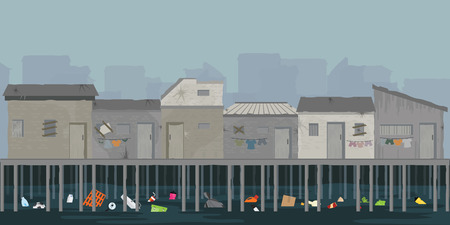 Paisaje de casa de madera en la orilla del río con basura, área de tugurios sobre el río, pobreza y concepto de problema social, ilustración vectorial. Ilustración de vector