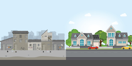 Luxury house and slum, gap between poverty and richness, conceptual vector illustration.