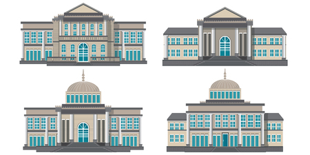 Modern public building isolated on white background, building icon vector illustration.