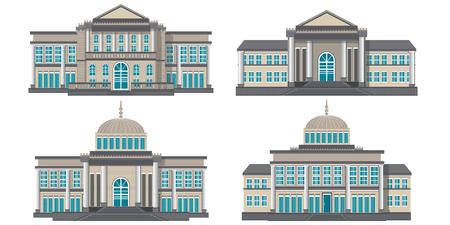 Modernes öffentliches Gebäude lokalisiert auf weißem Hintergrund, Gebäudeikonenvektorillustration.