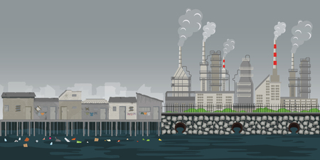 Pollution environment plant pipe dirty waste air and water polluted environment ,slum on the riverbank with garbage, social and pollution environment problem concept ,vector illustration.