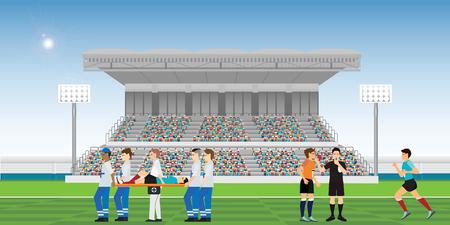 Ärzte helfen dem verletzten Fußballspieler und Schiedsrichter, Pfeifen zu blasen und rote Karte für Fußballspieler zu halten, begeht ein Foul während der Sportmeisterschafts-Vektorillustration der Fußballspielmannschaftsspieler. Vektorgrafik