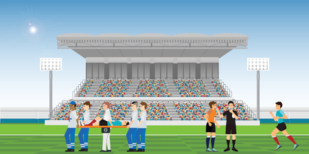 Doctors are helping the injured soccer player and referee blowing whistle and holding red card for soccer player commits a foul during football match team players sport championship vector illustration. Vektorové ilustrace