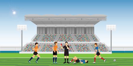 Árbitro que sopla el silbato y sostiene la tarjeta roja para el jugador de fútbol comete una falta durante la ilustración de vector de campeonato deportivo de jugadores de equipo de partido de fútbol