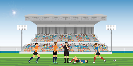 Referee blowing whistle and holding red card for soccer player commits a foul during football match team players sport championship vector illustration.