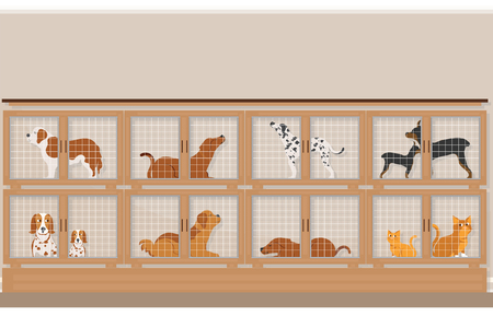Cages of dogs and cats for sale in pet store, pet shop conceptual vector illustration. Stock Illustratie
