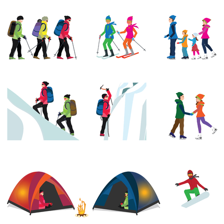 Cartoon character set of Ice climber, Camping in the Snowy ,hiking, skiing, family skating and snowboarding , sport and recreation vector illustration.