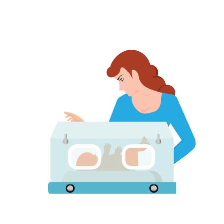 Mamá o enfermera miran al bebé en la incubadora, bebé dentro de la incubadora, ilustración de vector de recién nacido prematuro. Ilustración de vector