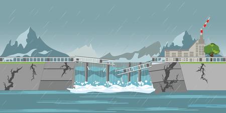 Il crollo della diga e le forti gocce di pioggia alla centrale idroelettrica rotta inondano i villaggi, illustrazione vettoriale di concetto. Vettoriali