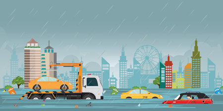 Heavy rain drops and city flood on city view with cars and garbage floating in the water,vector illustration.