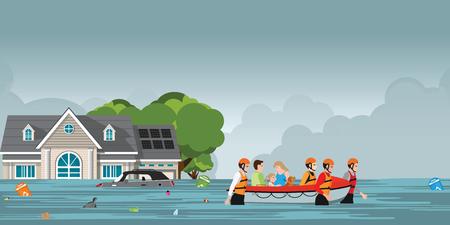 Rettungsteam, das Menschen hilft, indem es ein Boot durch eine überflutete Straße schiebt, Vektorillustration.