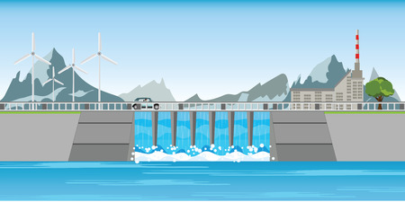 The dam and windmills between mountains and water rushing through gates at a dam, vector illustration. Vectores