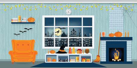 Halloween party in living room with armchair, table, clock and fireplace, modern classic style vector illustration.