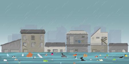 Fortes gouttes de pluie et inondation de la ville dans les bidonvilles avec des ordures flottant dans l'eau, illustration vectorielle.