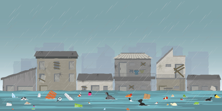 Heavy rain drops and city flood in slum city with garbage floating in the water, vector illustration. Иллюстрация