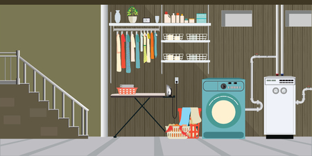 Interior equipment of a basement, washer, shelf with tools, basket with dirty clothes, boxes ,Vector illustration. Иллюстрация