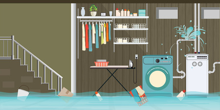 Interior flooded basement flooring of laundry room with leaky pipeline, vector illustration.