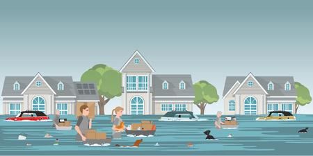 Famiglia di residenti che trasporta effetti personali e animali da compagnia per camminare in acque alte dopo le devastanti inondazioni nel villaggio, i residenti a piedi attraverso un'illustrazione vettoriale di inondazione.